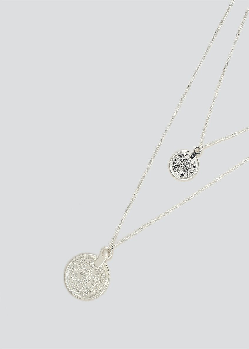 Coin Pendant Multirow Necklace