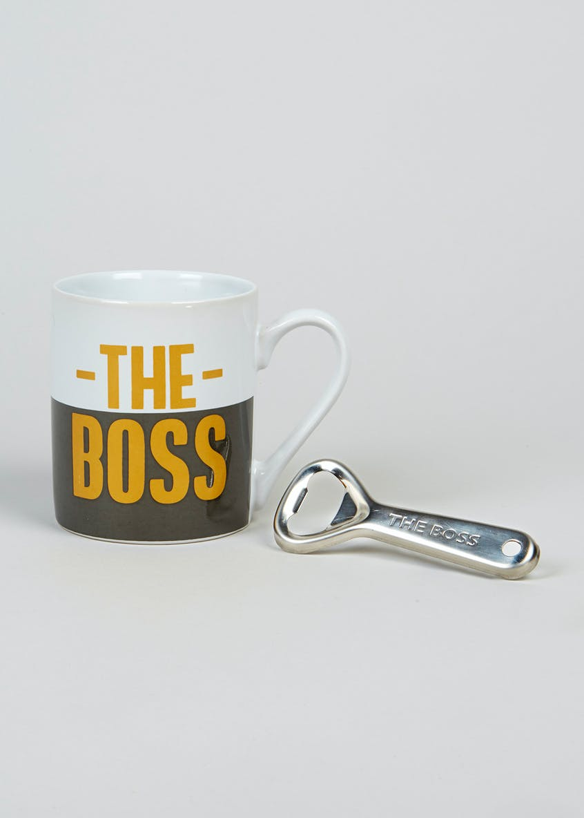 The Boss Slogan Mug & Bottle Opener Set