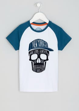 Boys Raglan Sleeve Skull Print T-Shirt (4-13yrs)