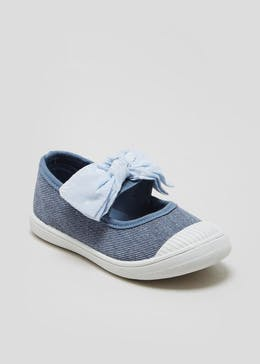 Girls Knotted Bow Denim Canvas Pumps (Younger 4-9)