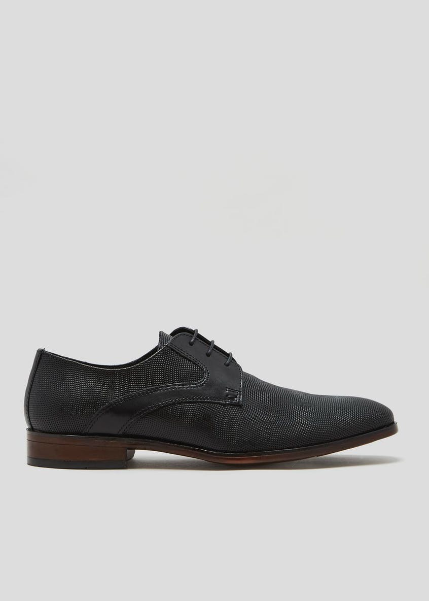 Real Leather Embossed Derby Formal Shoes