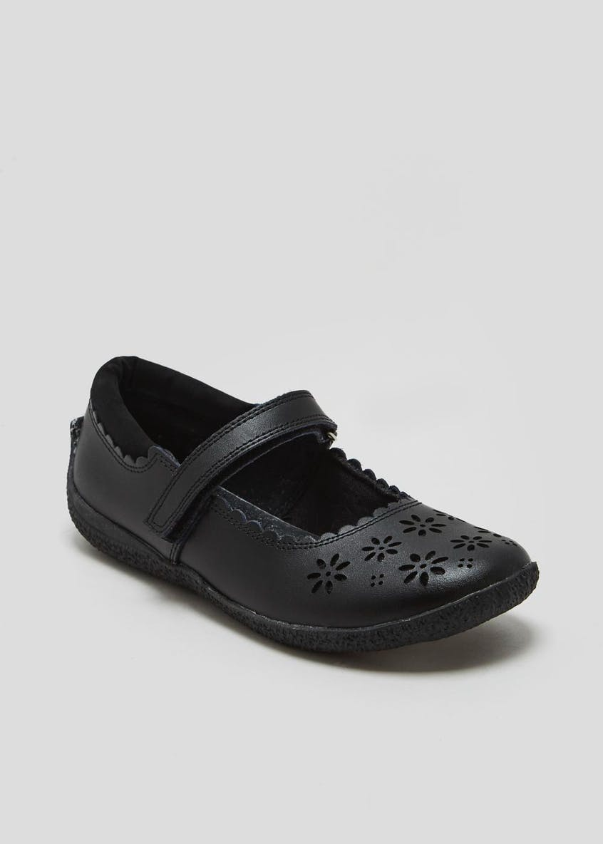Girls Coated Leather School Shoes (Younger 7-Older 2)