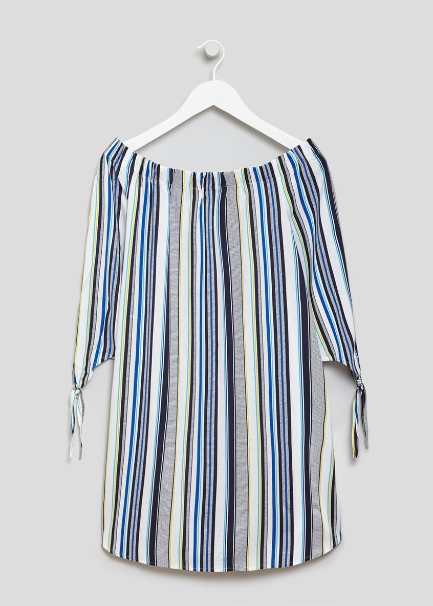 Tie Sleeve Stripe Bardot Dress