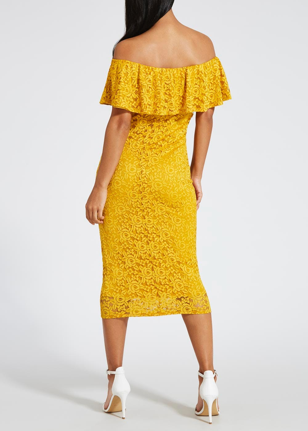 Lace Bardot Midi Dress – Mustard – Matalan