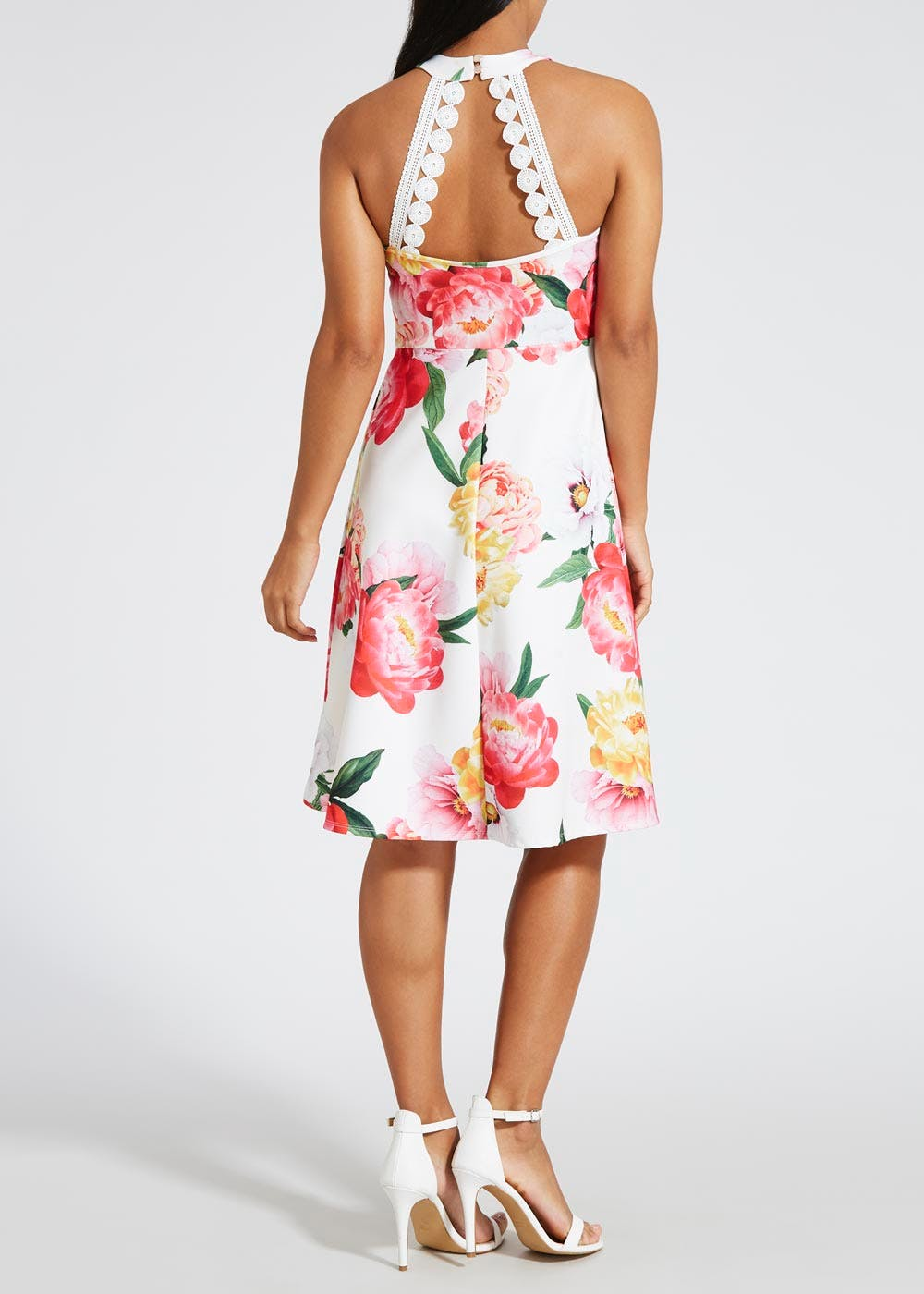 Floral Scuba Halterneck Dress – White – Matalan