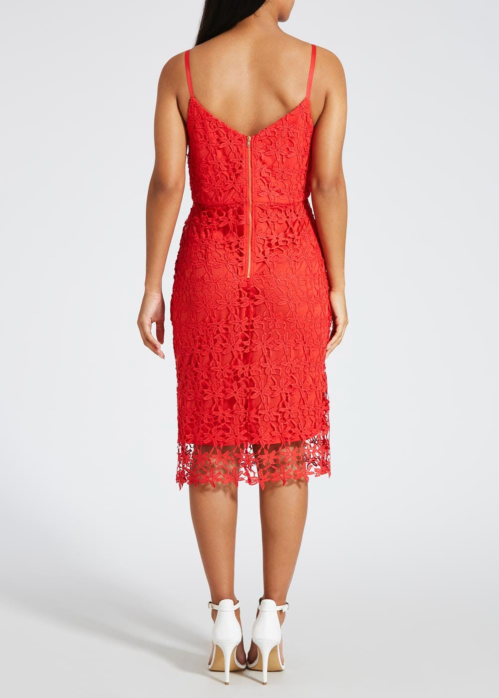 Lace Midi Dress – Red – Matalan