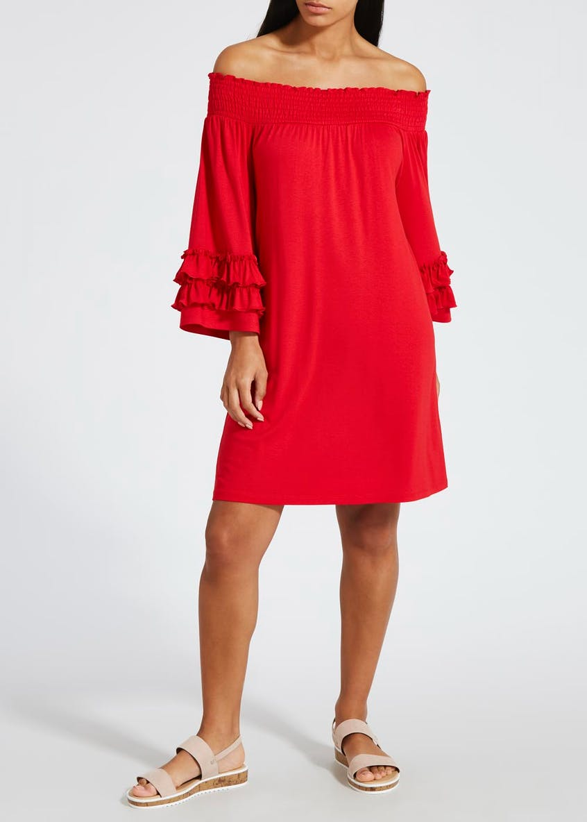 Ruffle Sleeve Bardot Dress