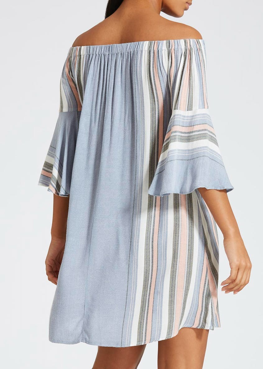 Frill Sleeve Stripe Bardot Dress