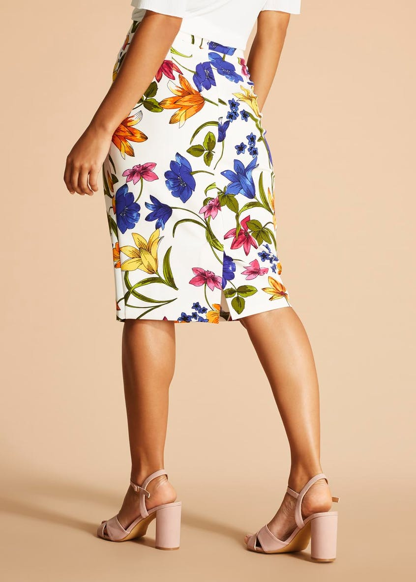 Soon St Lucia Floral Scuba Pencil Skirt