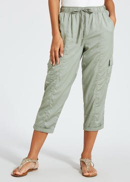 Cropped Cargo Utility Trousers