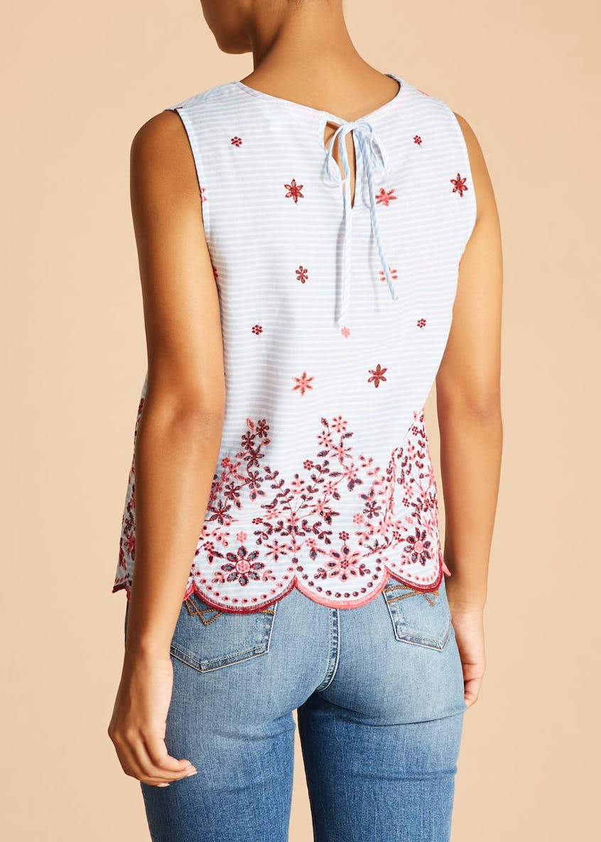 Falmer Embroidered Hem Sleeveless Blouse
