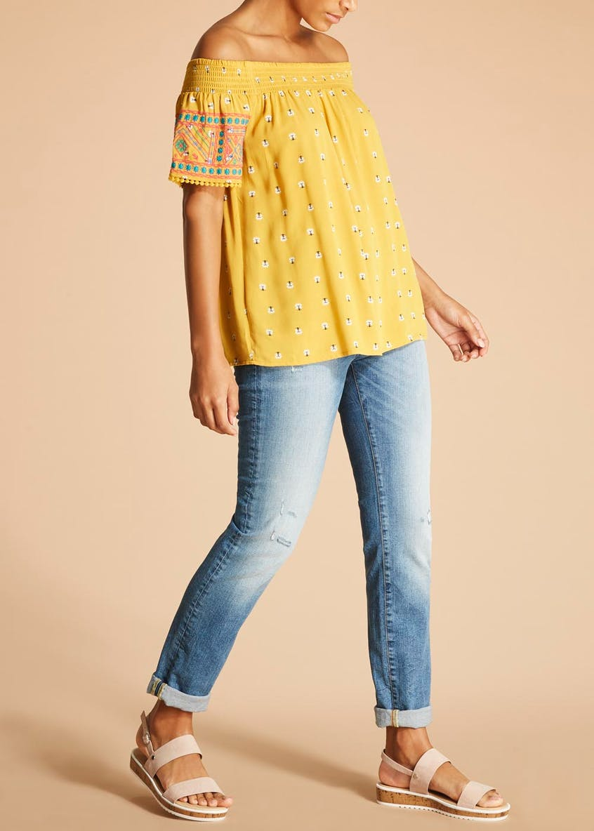 Falmer Aztec Embroidered Bardot Blouse