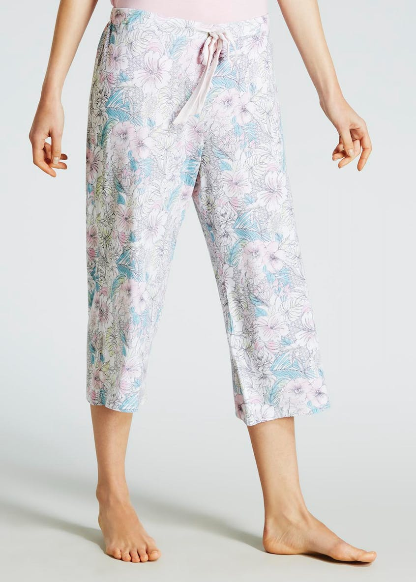 Floral Viscose Cropped Pyjama Bottoms