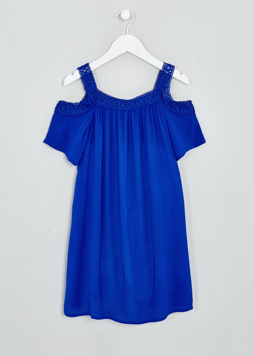 Girls Lace Cold Shoulder Dress (4-13yrs)