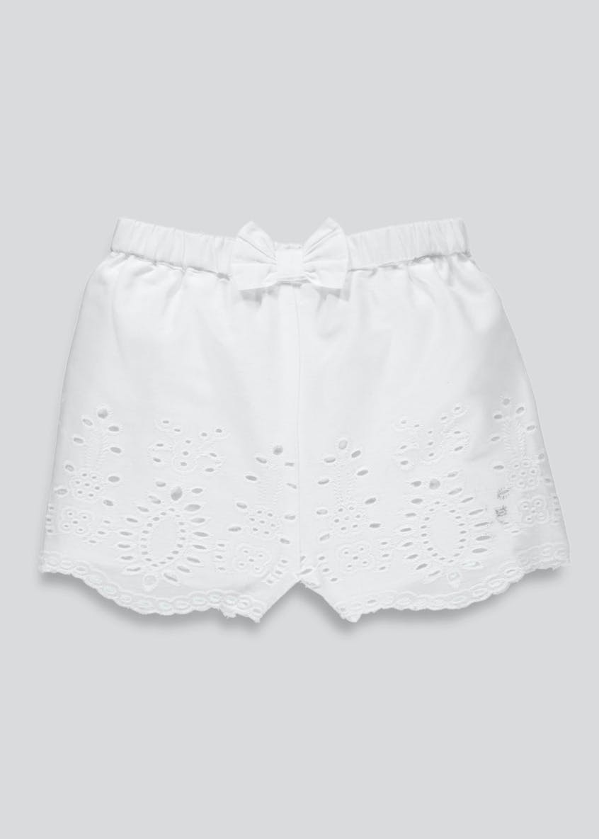Girls Broderie Bow Shorts (3mths-6yrs)