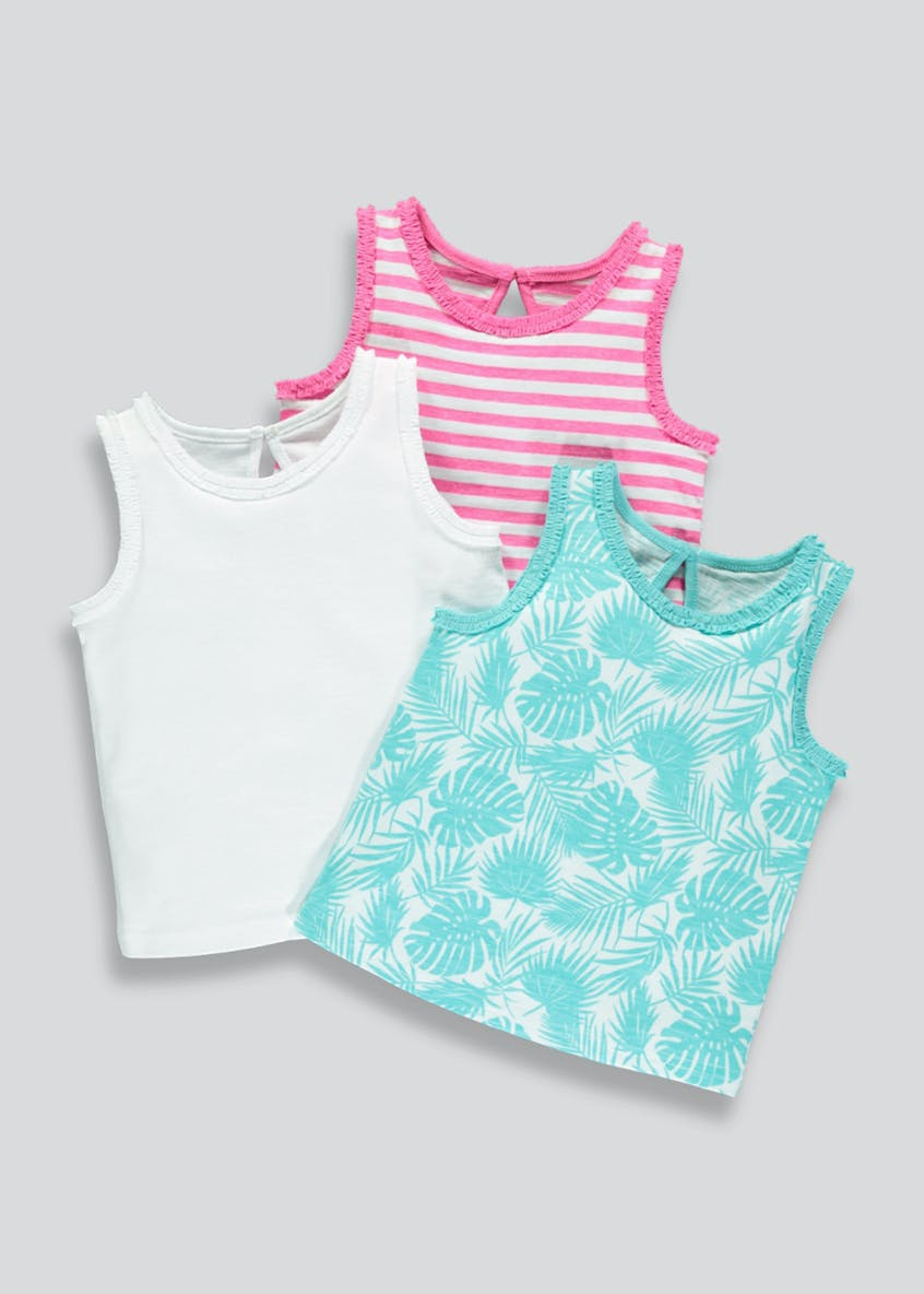 Girls 3 Pack Frill Vests (3mths-6yrs)