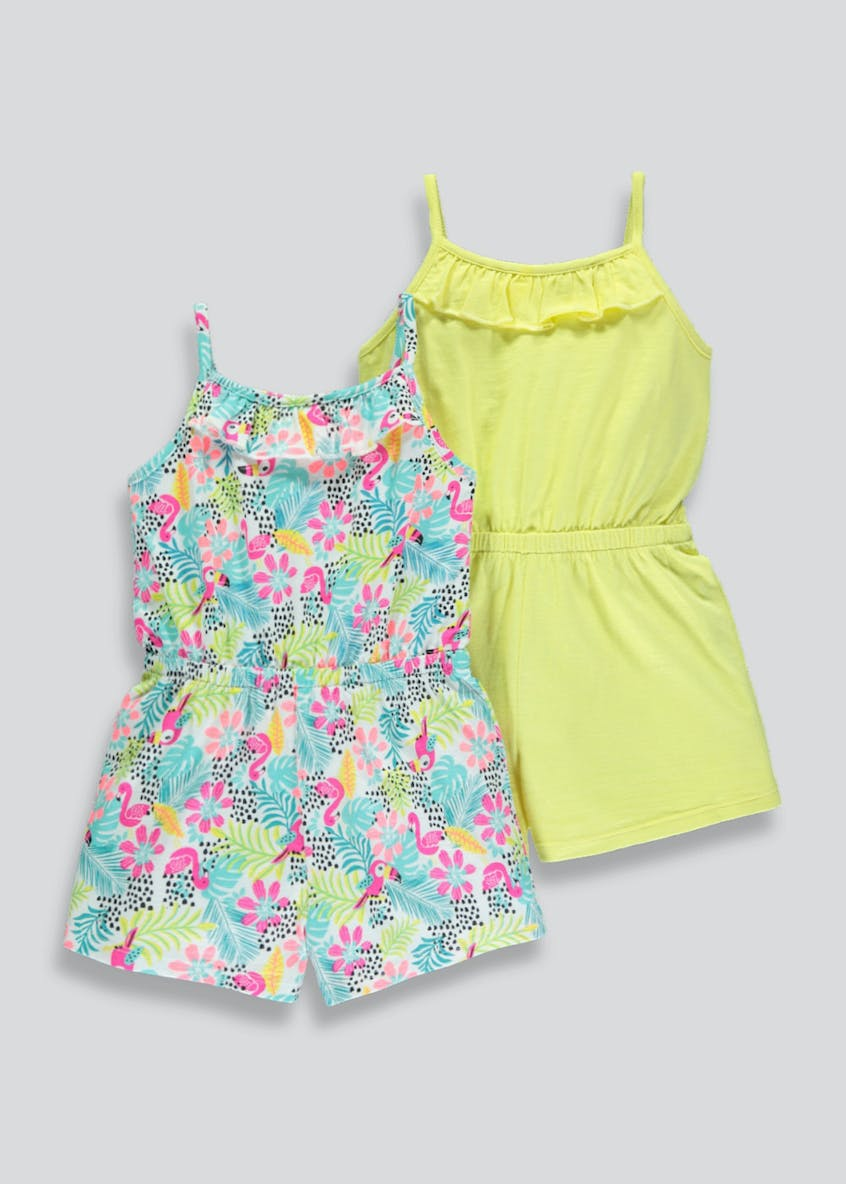 Girls 2 Pack Tropical Playsuits (3mths-6yrs)
