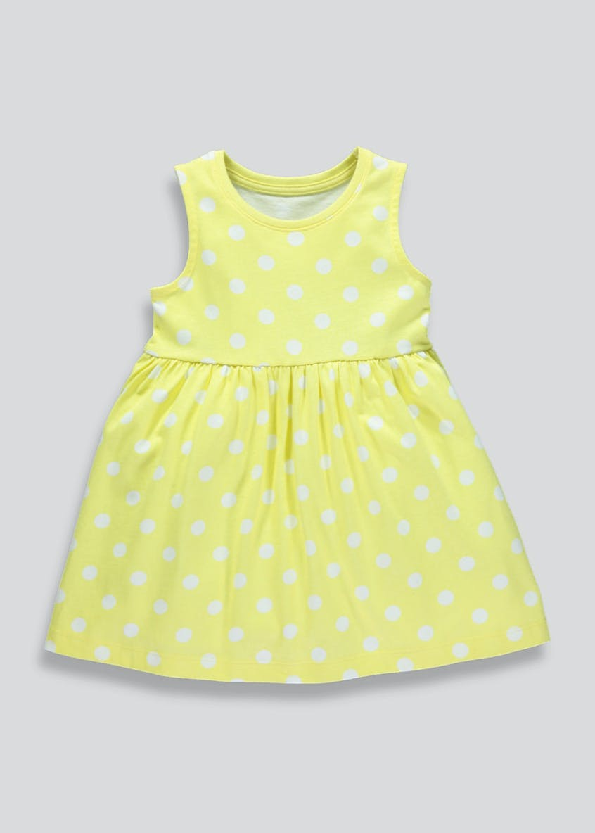 Girls Polka Dot Sleeveless Jersey Dress (3mths-6yrs)