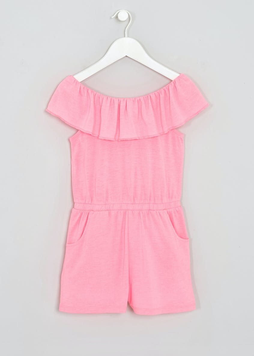 Girls Frill Bardot Jersey Playsuit (4-13yrs)