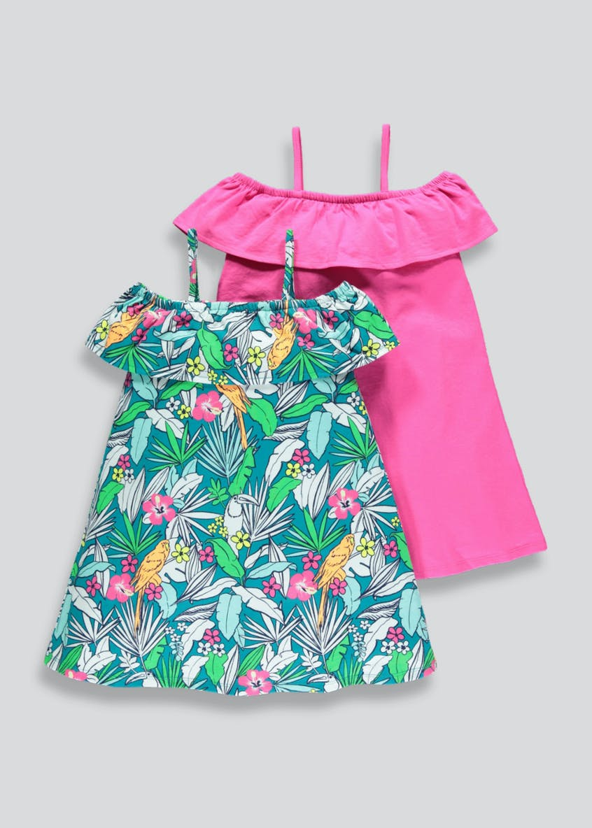 Girls 2 Pack Palm Print Frill Bardot Dresses (4-13yrs)