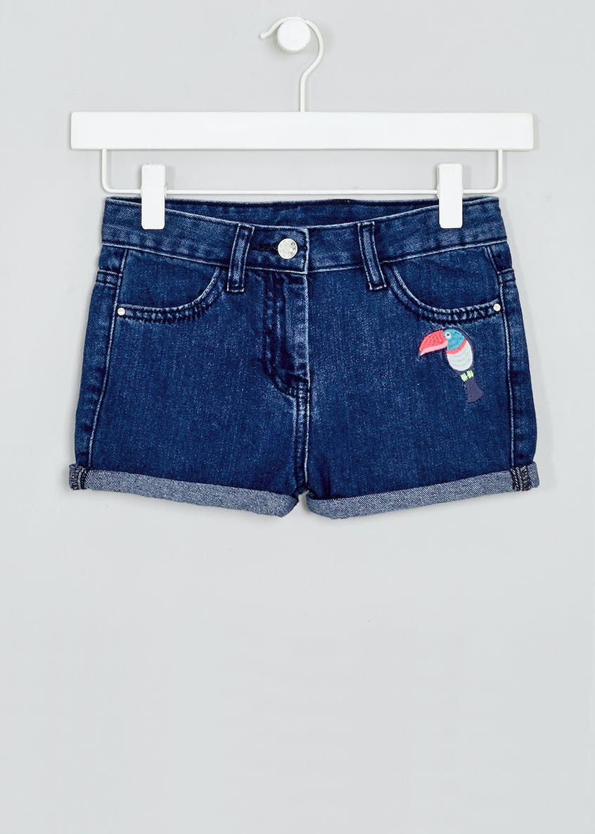 Girls Toucan Embroidered Denim Shorts (4-13yrs)