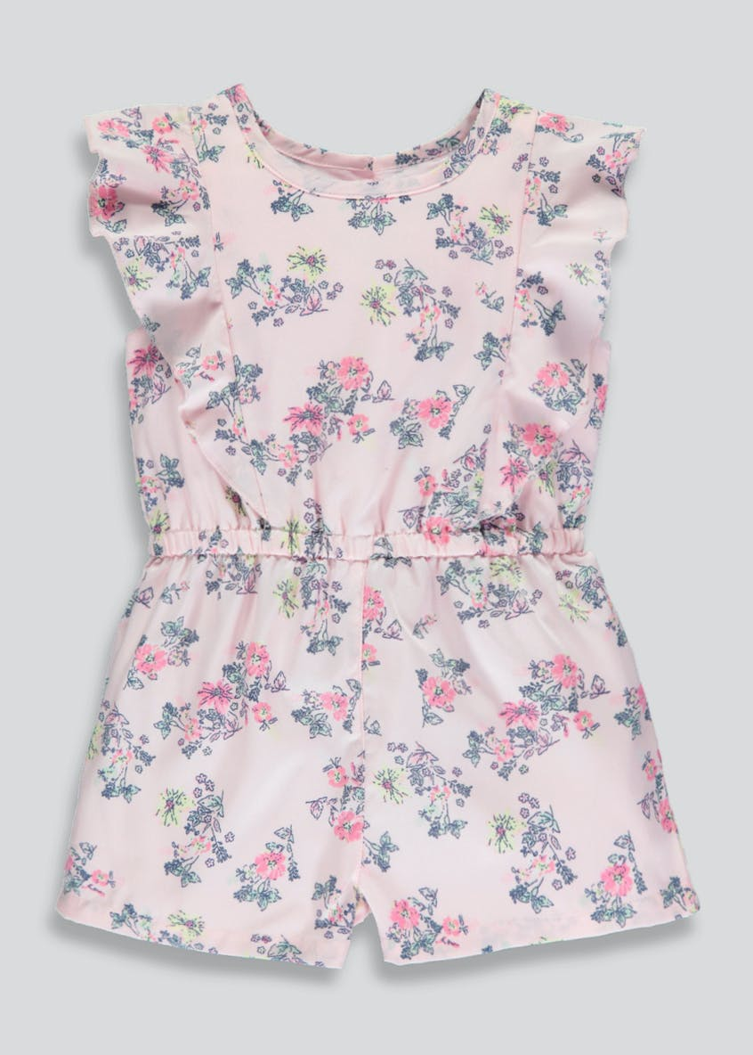 Girls Floral Frill Occasion Playsuit (3mths-6yrs)