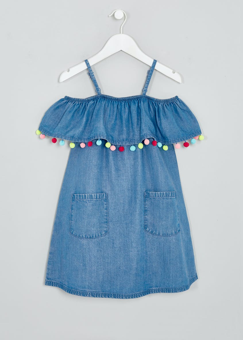 Girls Denim Pom Pom Bardot Dress (4-13yrs)