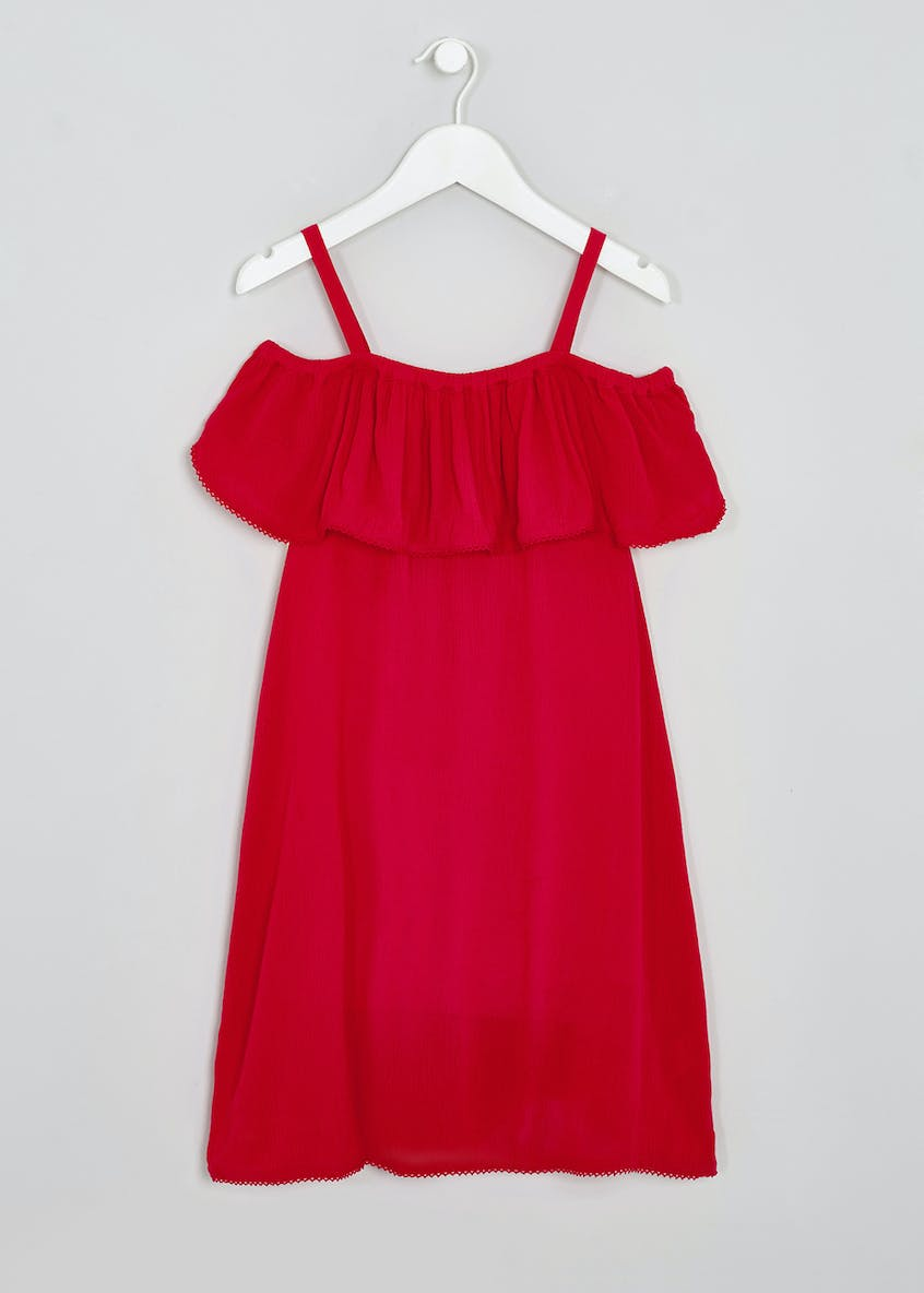 Girls Candy Couture Frill Bardot Dress (9-16yrs)