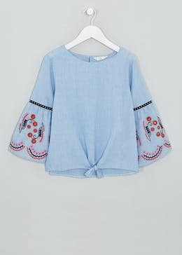 Girls Candy Couture Embroidered Sleeve Blouse (9-16yrs)
