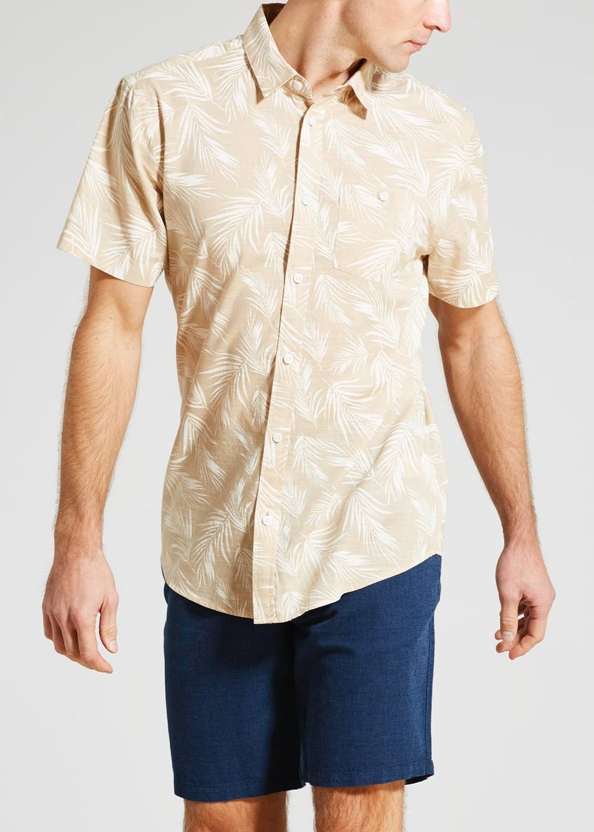 Leaf Print Short Sleeve Shirt