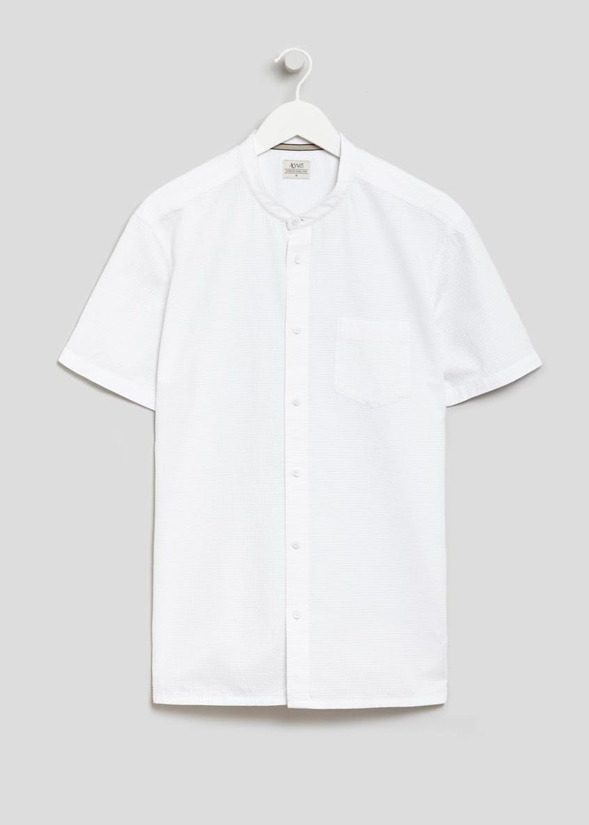 Short Sleeve Grandad Collar Seersucker Shirt