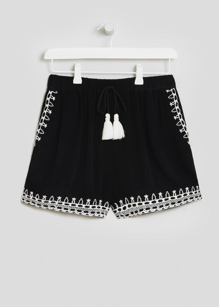 Embroidered Viscose Shorts