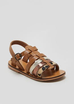Girls Real Leather Caged Sandals (Younger 4-12)