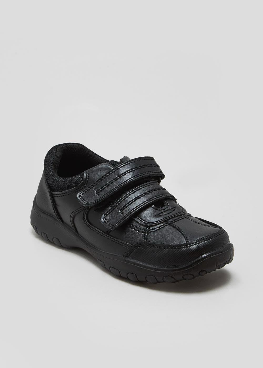 3058be3ab2 Boys Coated Leather Trainer School Shoes (Younger 10-Older 6 ...