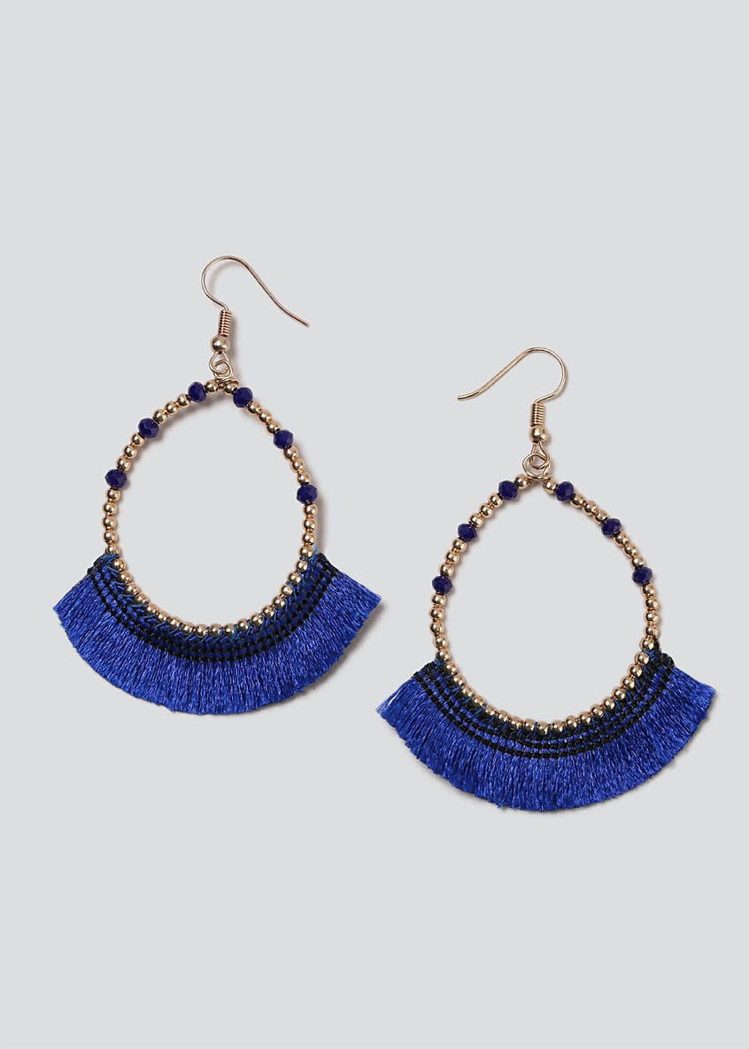 Blue Fringe And Bead Hoops