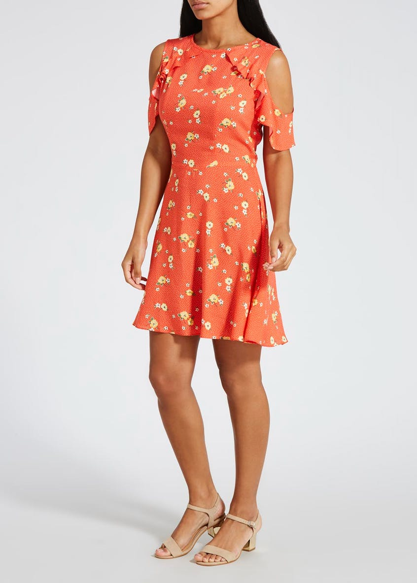 Floral Cold Shoulder Tea Dress