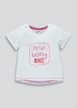 Girls One Slogan T-Shirt (1yr)