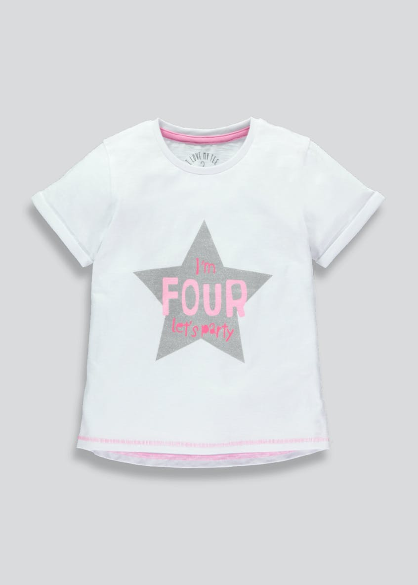 Girls Four Slogan T-Shirt (4yrs)