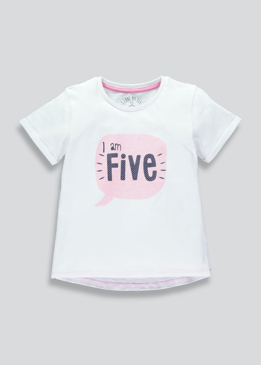 Girls Five Slogan T-Shirt (5yrs)