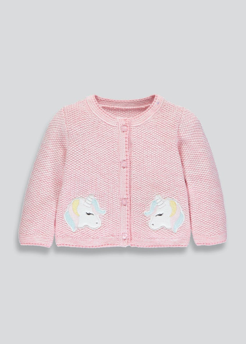 Girls Unicorn Pocket Cardigan (Newborn-18mths)