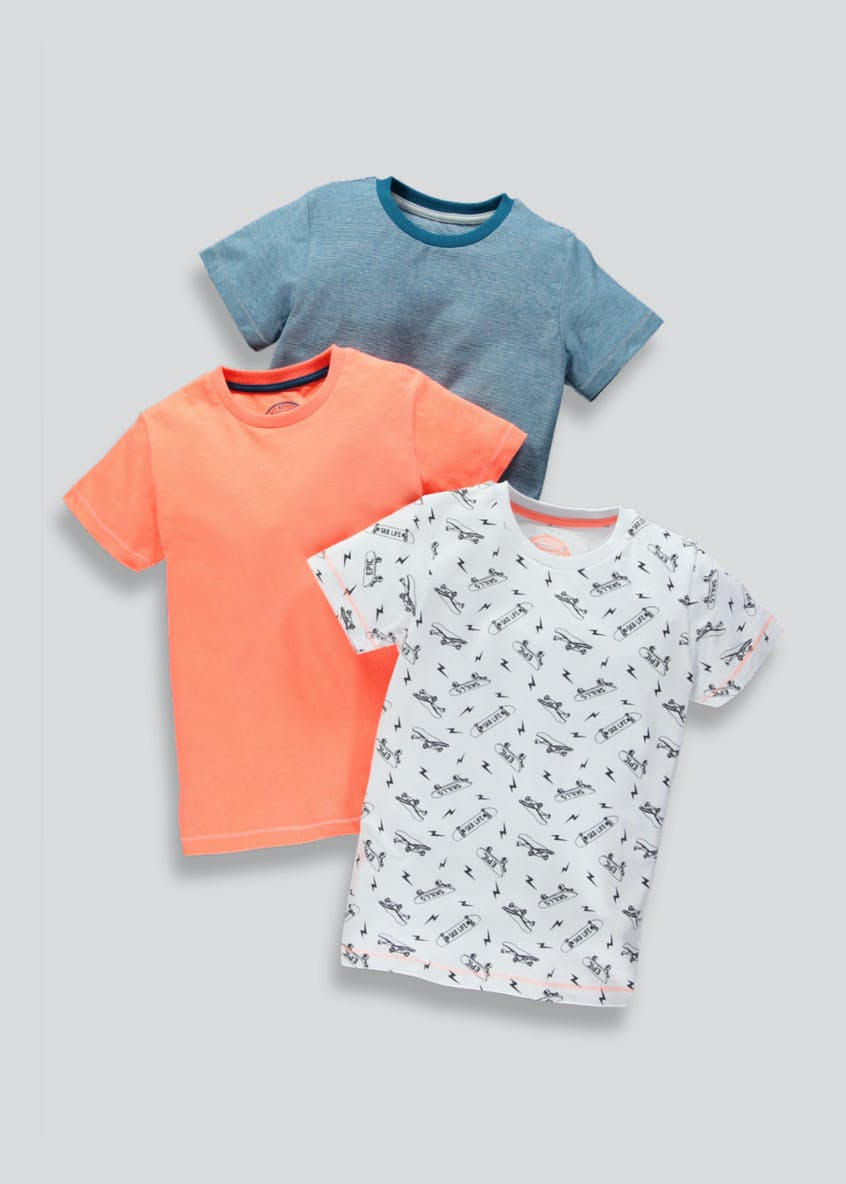 Boys 3 Pack Skateboard T-Shirts (4-13yrs)