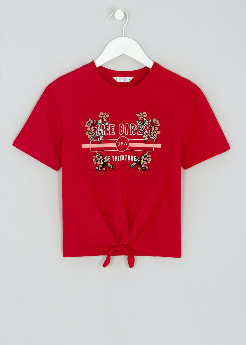 Girls Candy Couture Embroidered Slogan T-Shirt (9-16yrs)