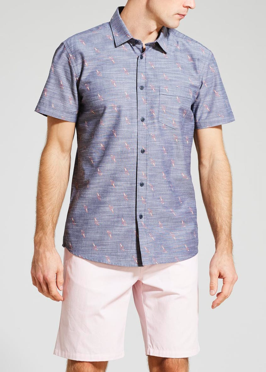 Big & Tall Short Sleeve Parrot Print Shirt