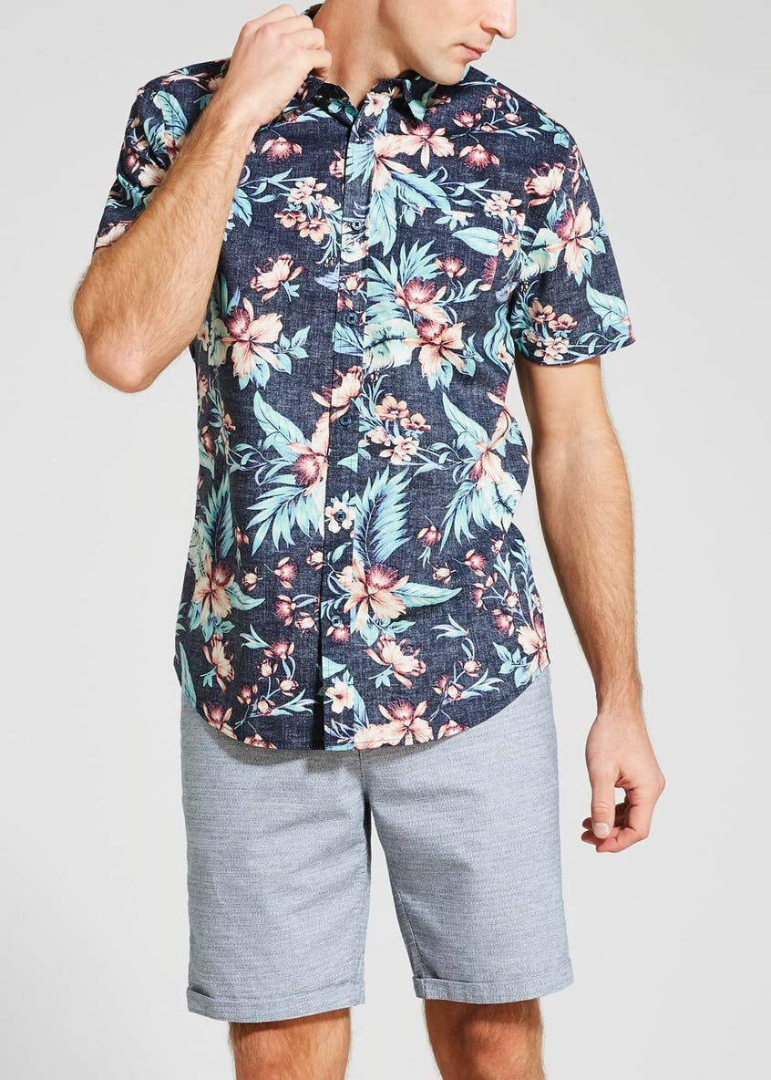 Big & Tall Reverse Floral Short Sleeve Shirt