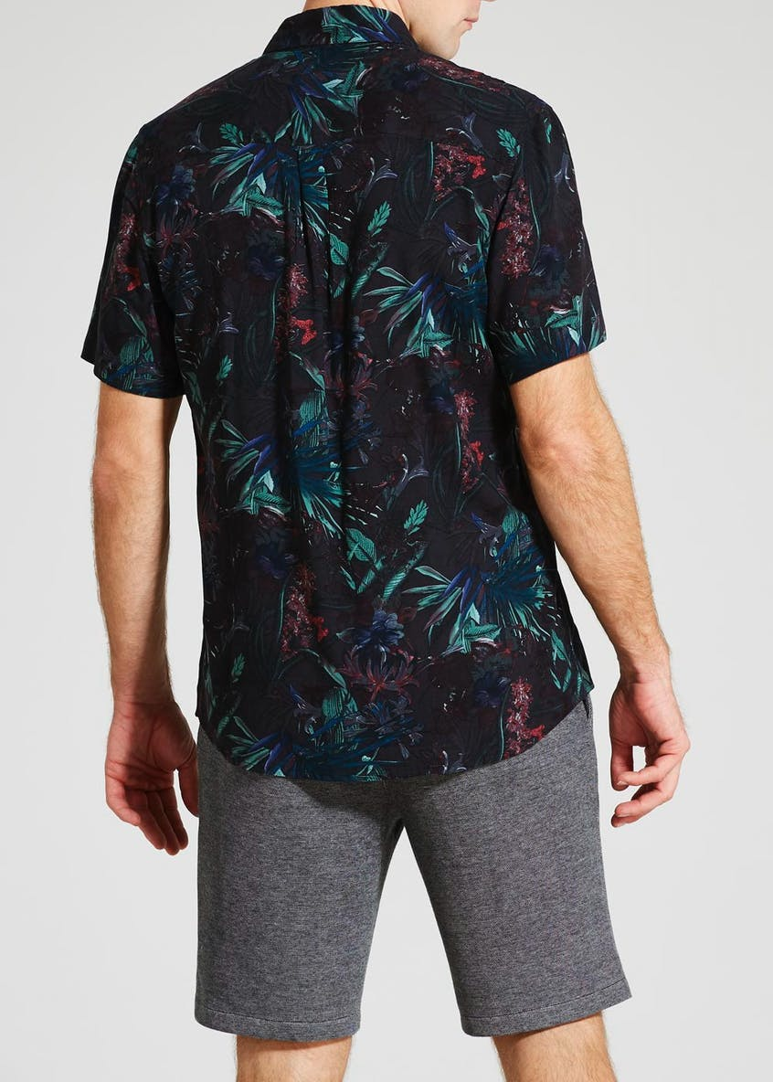 Big & Tall Tropical Print Short Sleeve Shirt