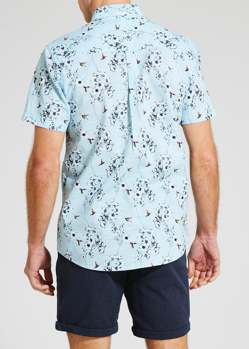 Big & Tall Bird Print Short Sleeve Shirt