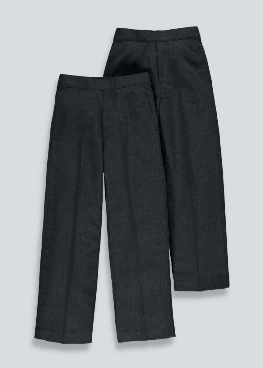 Boys 2 Pack Pull On School Trousers (3-11yrs)