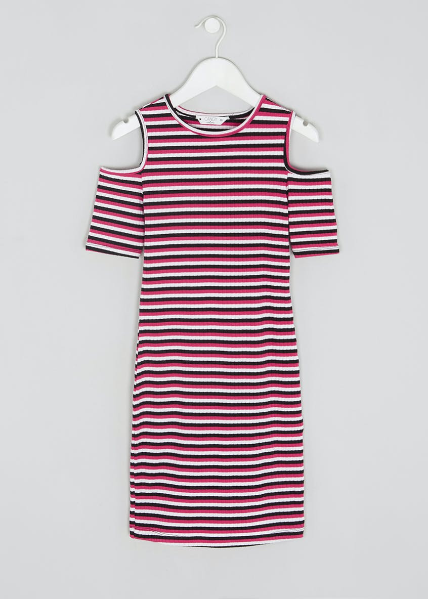 Girls Candy Couture Stripe Cold Shoulder Midi Dress (9-16yrs)