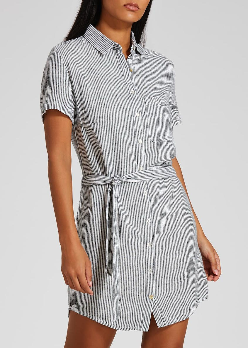 Stripe Linen Shirt Dress