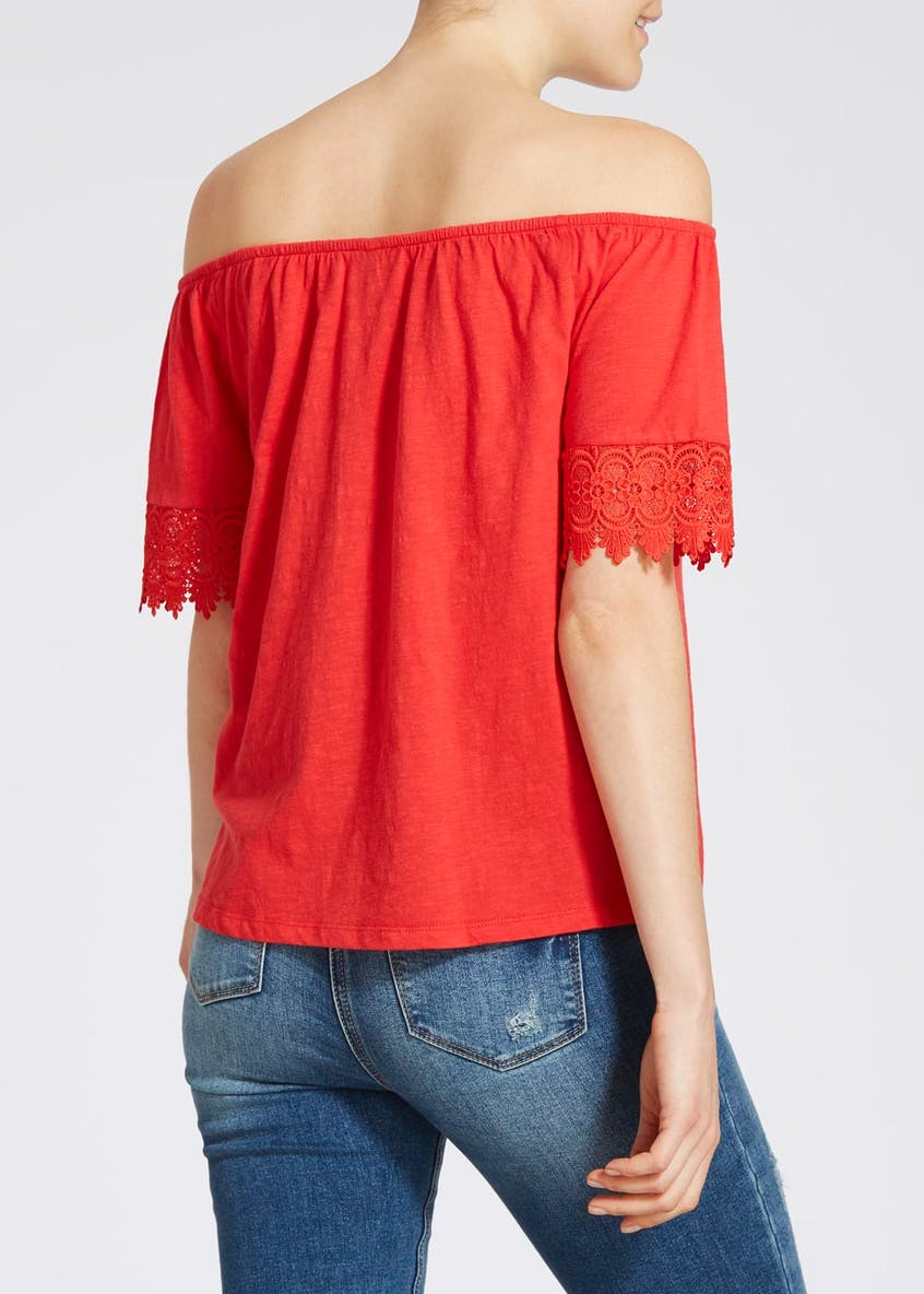 Lace Sleeve Bardot Top